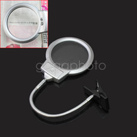 Wholesale-Sliver Lupa Mesa de mesa Mesa Clamp Lamp LED Light Metal Mangueira com Clip New