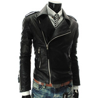 Wholesale Coloured Leather Jackets - Wholesale-Free shipping New Slim Sexy Top Designer Mens Pu Leather Jackets White jacket Coat Colour Red White Black Size S M L XL XXL D324