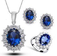pendientes de zafiro azul oro al por mayor-Al por mayor-grande cristal zafiro conjuntos de joyas azul Neckalce pendientes anillo conjunto verdadero oro blanco plateado declaración joyas para las mujeres