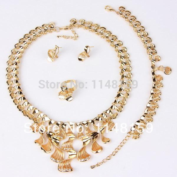 Wholesale-Fashion 18K Gold Plated Jewelry Set Gift For Women Wedding Accessories Rhinestone Party African Costume Dubai Necklace Set A1064