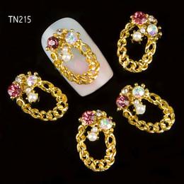 Discount golden 3d nail art - Wholesale- 10pcs lot 3D Golden Necklace Charm Nail Decorations Glitter Alloy Jewelry Rhinestones DIY Nail Art Studs Tool