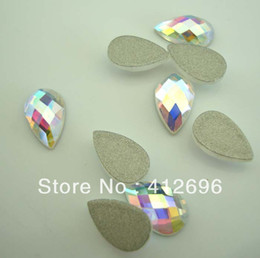 $enCountryForm.capitalKeyWord Canada - Wholesale-Free shipping(48pcs per lot)pear drop shape crystal AB color flat back stone no hot fix 6*8mm Nial Art Rhinestone