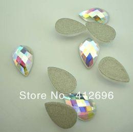Wholesale Hot Fix Crystal Shapes - Wholesale-Free shipping(48pcs per lot)pear drop shape crystal AB color flat back stone no hot fix 6*8mm Nial Art Rhinestone