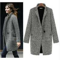 Wholesale Grey Coat Wool Woman - Wholesale-HOT SALE 2015 Design New Spring Winter Trench Coat Women Grey Medium Long Oversize Warm Wool Jacket Europ Fashion Overcoat S-XL