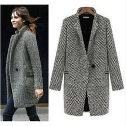 Mujeres Trinchera Al Por Mayor Baratos-Venta al por mayor-HOT VENTA 2015 Design New Spring Winter Trench Coat Mujeres Gris Larga Media Oversize Wool Lana Chaqueta Europ Fashion Sobretodo S-XL