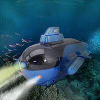 Wholesale Toy Submarines Radio Control - Wholesale-Scolour New Mini Electric Radio Remote Control Sub Submarine Boat Explorer Toy Kids Toy Gifts 219 blue Free shipping