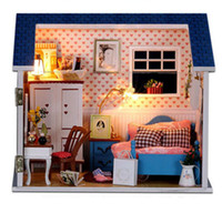 Wholesale Miniature House Lights - Wholesale-Doll House Model Building Kits Handmade Miniature With Light And Furniture Wooden Dollhouse Toy Christmas Birthday Greative Gift