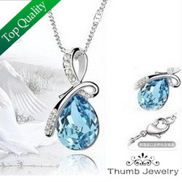 Wholesale Women Nickel Free Necklaces - Wholesale-JS N018 Fashion Necklaces For Women 2015 High Quality Water Drop Women Accessories Nickel Free Bijoux Women Necklace Female