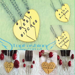 Wholesale Bitch Gifts - Wholesale-2015 New Style Fashion Broken Heart 3 Parts Gold Best Bitches Necklaces & Pendants,Jewelry For Women,Best Gift for Friends