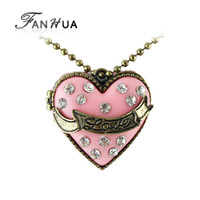 Wholesale Enamel Box Chain Necklace - Wholesale-Bijouterias Vintage Jewelry Gold Alloy Chain Pink Enamel Openable Box Rhinestone Key Heart Pendants Necklace Wholesale Items