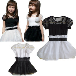 Wholesale Two Years Kids Girl Dress - Wholesale-free shipping by CPAM  epacket cheapest price black and white classic two colour kid girl dress for 3 to 10 years old chirldren