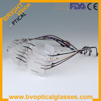 Wholesale Whole sales piece colors rimless memory titanium hinged optical frames eyeglasses specs