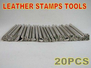 Wholesale-New lot of 20 Leather Craft Tools Basic Stamps set Saddle Printing marking tool