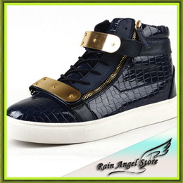 Wholesale High Platfrom - Wholesale-Fashion Quality Brand Men High Top Shoes Metal Decoration Side Zip Buckle Shoes Causal Hip-hop Shoes Platfrom Sneakers