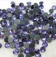 Wholesale Iron Rhinestone Flatback - Wholesale-Free Shipping SS16 1440pcs Bag Tanzanite purple DMC HotFix FlatBack Rhinestones trim strass DIY iron on glass Hot Fix stone