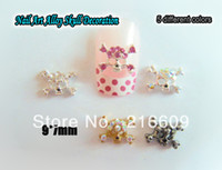 Gros-Beauté !! 20pcs / Lot mixte 5 couleurs Skull Alloy 3D Nail Art Glitter Cristal Noir Rose Or AB strass Nails Art Décorations