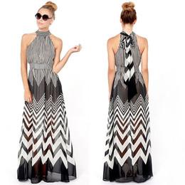 Wholesale Chevron L - Wholesale-Women Long Chevron \Striped Empire Waist Party Summer Beach Maxi Dress Halter
