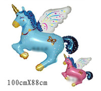Wholesale Horse Pas - Wholesale-10 PCS unicorn Fly horse Helium balloons Kids birthday party decorations Inflatable toys gifts for children games 100x88cm