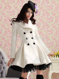 Wholesale Long Woolen Coat Fashion Women Winter Ruffled Coat Christmas Parka Plus Size Ladies Lace Peacoat Trench Coat Outerwear W26