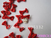 Wholesale 3d Nail Art Ribbon - Wholesale-CB-1-4 Free Shipping 200pcs lot Red Fabric Ribbon Bow Nail Art Decoration Nail art Fabric Bow