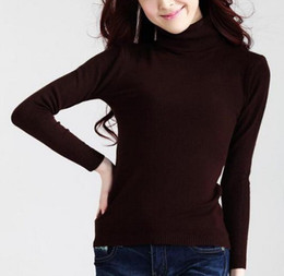 Wholesale Plain Pullover Sweater - Wholesale-New Autumn Slim Sweater Causal Solid Plain Turtleneck High Collar Basic Knitted Sweaters Women Pullover Tops 21 Colors 409