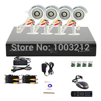 Wholesale Dvr Recorder 4ch Kit - Wholesale-4CH CCTV System DVR Kit 480TVL Waterproof IR Cameras 4 Channel Network DVR Recorder CCTV Systems Security Camera Video System