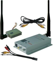 Transmissores de áudio e vídeo sem fio on-line-Atacado-Frete Grátis 1.3GHz 1.2GHz 400mW transmissor e receptor de 8 canais para transmissão de vídeo AV sem fio de áudio