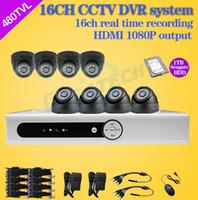 grabadora de 16 canales al por mayor-Al por mayor-16 canales de cctv dvr sistema de seguridad 8ch 480tvl cámara de vigilancia de video domo IR dvr Grabador 16ch hdmi 1080p con 1TB HDD Zmodo
