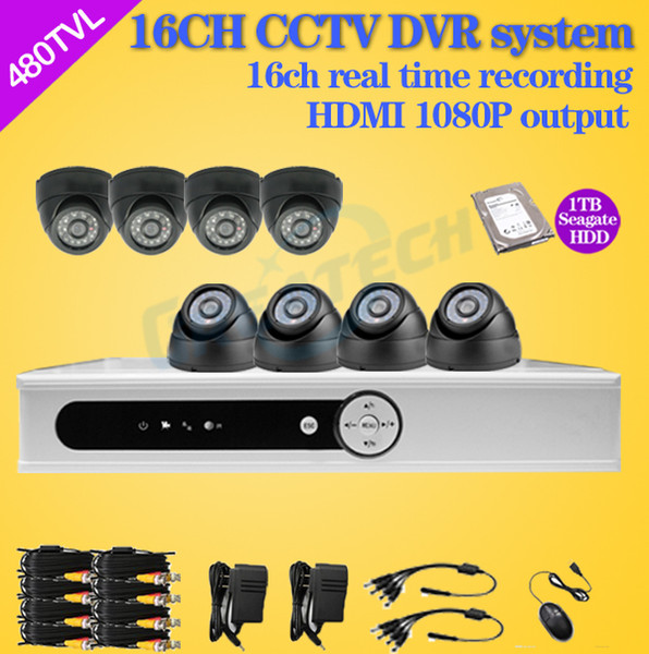 Wholesale-16 channel cctv dvr security system 8ch 480tvl IR dome video Surveillance camera dvr Recorder 16ch hdmi 1080p with 1TB HDD Zmodo