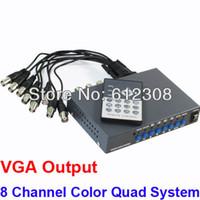 Wholesale Cctv Color Splitter - VGA Output CCTV 8 CHs Channel Digital Color Security Quad System Video Processor Splitter BNC Switcher with Remote Control
