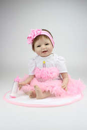 Wholesale Vinyl 12 Inch - Wholesale-21 inch Silicone Reborn Baby dolls Handmade Lifelike Baby Doll Baby Toy Children Gift Free Shipping