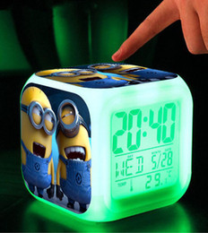 Wholesale Despicable Minion Doll Plastic - Wholesale-Retail LED 7 Colors Change Digital Alarm Clock   Minions   Despicable me dolls Night Colorful Glowing toys Wholesale