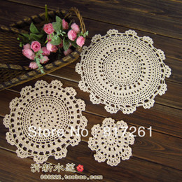 Wholesale Embroidered Placemat - Wholesale-Free shipping handmade cup mat towel pad plate placemat doily table runner 15-45 cm 9 colors 5 pics round mat and pad for home