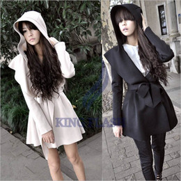Wholesale Korea Hooded Trench - Wholesale-Free Shipping winter New Stylish Korea Women's Coat Hooded Trench Outerwear Dresses Style Tops