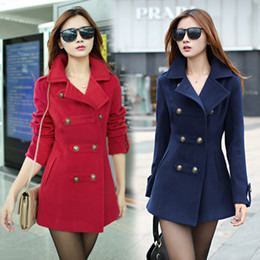 Wholesale Trench Double Coat Red - Wholesale-2015 Women's winter long slim Woolen overcoat female cotton lapel trench coat for women thick warm coat abrigos mujer B56
