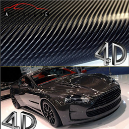 Wholesale 4d Carbon Fiber Vinyl Wrap - Wholesale-200*50cm 4D Carbon Fiber Vinyl Film 3M Car Sticker Waterproof DIY Car Styling Wrap With Retail packaging Free Shipping