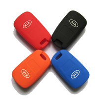 Wholesale Key Cover Colors - Wholesale-2015 New Silicone Key Cover For KIA K5 Sportage Sorento Folding Key Silicone Key Case 4 Colors Optional Free Shipping