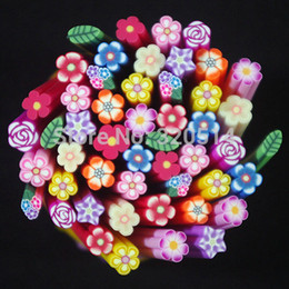 nail fimo Promo Codes - Wholesale-50pcs Mixed Flower Designs Fimo Rod Cane Sticks Nail Art Tips Decoration Soft Polymer Fimo Clay Special Toys DIY Cellpone Craft