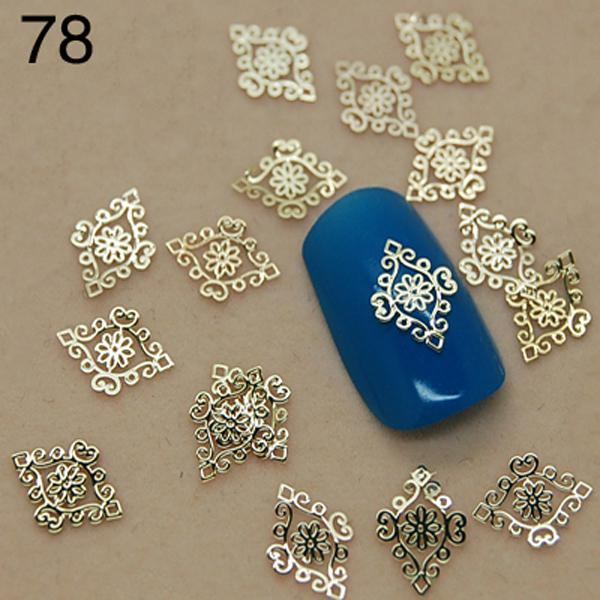 Wholesale-v78 800pcs/lot Top Quality Metallic Flowers Designs 2015 New Gold 3D Nail Art Stickers Nail Tips Accessory Decoration Tool