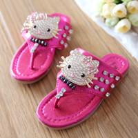 Wholesale Summer Girls Slippers - Wholesale-Girl Summer Slippers 2015 Child Lovely Sandals flip flops drag Baby Gladiator Crystal Cat Clip toe slippers Free Shipping