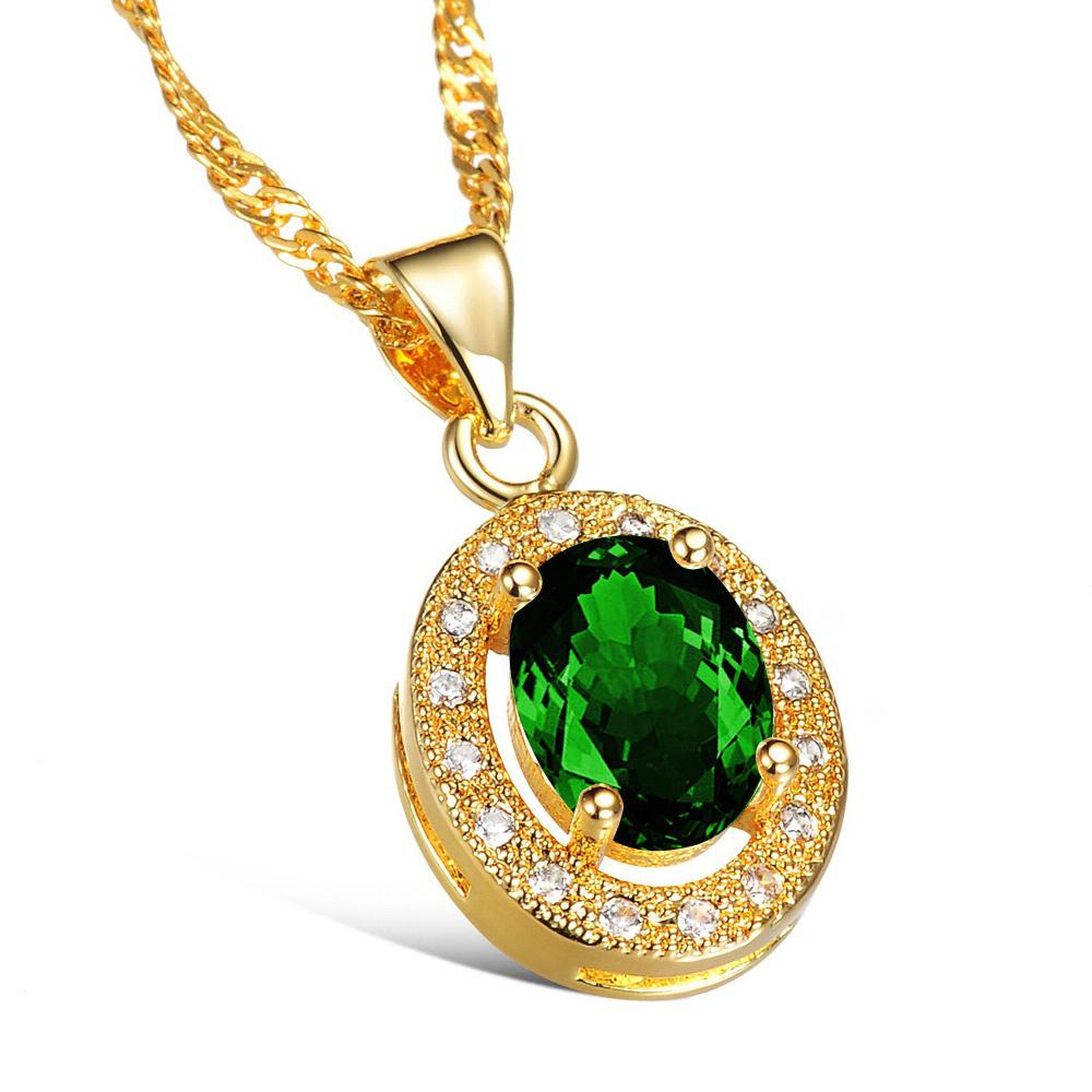 german com tfjfashion pendant set silver product necklace green stone