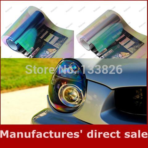 Wholesale- New Feshionalble 30*200cm Shiny Chameleon Car headlights Taillights Vinyl Film Auto Headlamps Rear lamp Tint film