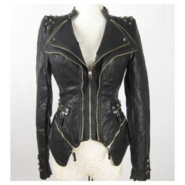 Wholesale Womens Leather Coat Xl - Wholesale-New Womens Punk Spike Studded Shoulder PU Leather Jacket Zipper Coat Size s XL