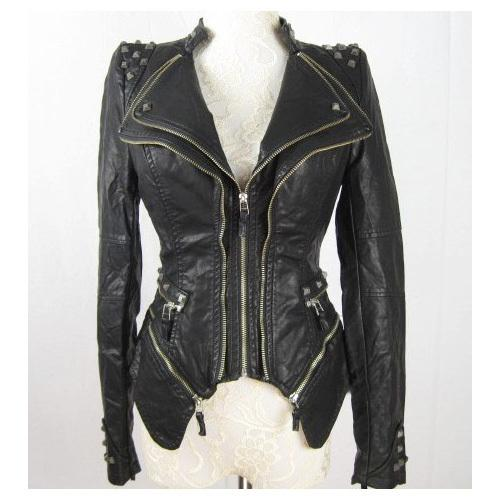 Wholesale-New Womens Punk Spike Studded Shoulder PU Leather Jacket Zipper Coat Size s XL