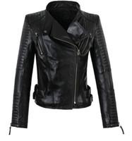 Wholesale Womens Black Sheepskin Coat - Wholesale-America new long-sleeved street woman jackets motorbike 100% genuine sheepskin leather jacket womens high quality coat S - 3XL