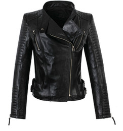 Wholesale Womens Genuine Black Leather Coats - Wholesale-America new long-sleeved street woman jackets motorbike 100% genuine sheepskin leather jacket womens high quality coat S - 3XL