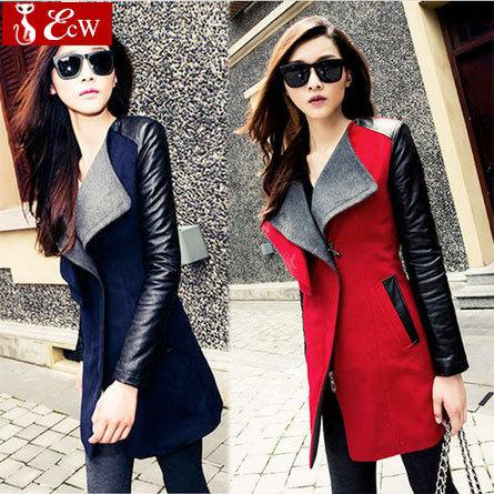 best selling Wholesale-womens jacket Spring Autumn Fashion 2015 jacket for womans Woolen coat Genuine leather PU stitching long sleeve jacket big size