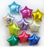 Wholesale inflatables stars decorations - Wholesale-high quality air ballon 20pcs Lot 10inch aluminum foil balloon Five-Pointed Star inflatables balloons Toys Wedding Decoration