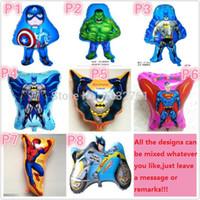 Wholesale Spiderman Birthday - Wholesale-Superman batman spiderman Captain America THE HULK super hero foil balloons 40pcs lot many designs boys globos toy birthday gift
