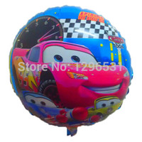 Wholesale Balloon Cars - Wholesale-Wholesale 50pcs lot 18inch round car balloons cartoon foil ballons helium party balloons best quality blue grounding
